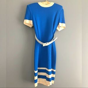 St John Collection Two Toned Short Sleeve Dress